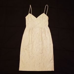 Winter White Metallic Jacquard Dress